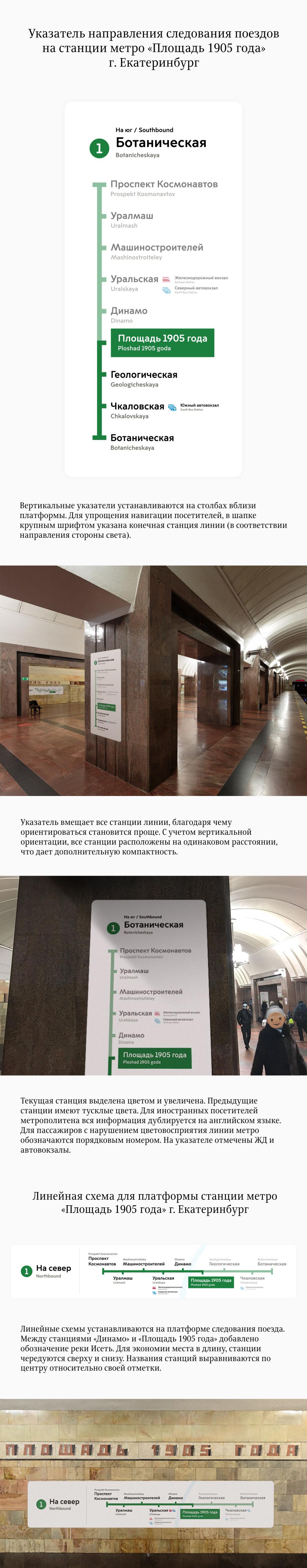Дизайн указателя направления поездов в метро Екатеринбурга